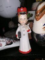 "VTG 5"" Ceramic Angel Cherub with Diamonds & Book In Hand Figurine Japan"