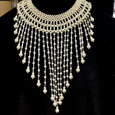 """Necklace w/ 2� - 9"""" Graduated Fringe Vtg Faux Pearl 2"""" Wide Collar Statement"""