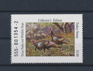 LO41714 USA 2001 turkey birds texas parks & wildlife fine lot MNH