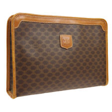 CELINE Macadam Pattern Clutch Hand Bag Brown PVC Leather Vintage AK38066j