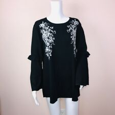 Alfani XL Sweater NEW Black Scoop Neck Bell Sleeve Silver Floral Embellish $89