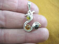 (P28-14) 2 stone AMBER dots circle dot Poland .925 Sterling SILVER swirl PENDANT
