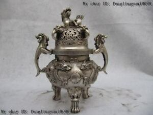 Buddhism White Copper Silver temple Two Dragon Foo Dog Ears beast incense burner