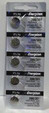 5 Energizer 386/301 High Drain 1.55V Silver Oxide Batteries