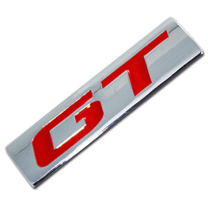 CHROME/RED METAL GT ENGINE RACE MOTOR SWAP EMBLEM BADGE FOR TRUNK HOOD DOOR