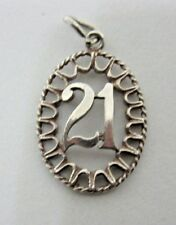 VINTAGE 925 STERLING SILVER CHARM ORNATE OVAL 21st  BIRTHDAY PENDANT 1.7 g