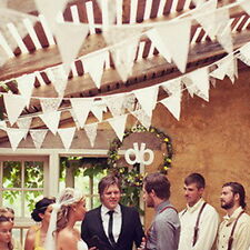 98'' Vintage White Lace Bunting Banner Flag Wedding Party Hanging Decoration