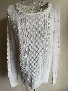 Gap Women's Cable Knit Jumper Size M (10-12) White Round Neck Long Sleeved