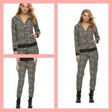 New Women's Juicy Couture Tracksuit Leopard Brown Velour Hoodie Pants 2pc Set M