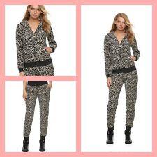 New Women's Juicy Couture Tracksuit Leopard Brown Velour Hoodie Pants 2pc Set M