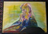 Vintage Mid Century Modern Psychedelic Portrait of Girl Painting Signed DAVIS