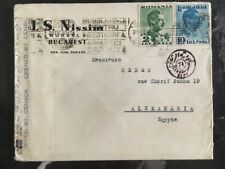 1940 Bucarest Romania Commercial Censored Cover to Alexandria Egypt