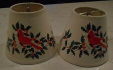 VINTAGE Holiday Holly Cardinal Mini Chandelier Clip On Lamp Shades ~ Set of 2
