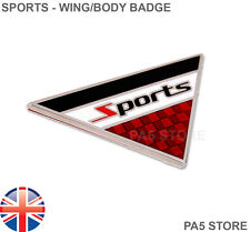 SPORTS Triangle Wing Body Badge Chrome - Fender Boot Car Van Badge VW AUDI CDI M