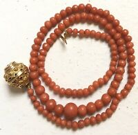 Collier Ancien Corail Or 18k Antique georgian Etruscan Gold red Coral Necklace