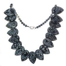 Halskette Kette Collier Schneeflocken Obsidian Tropfenform, Bella Carina A013