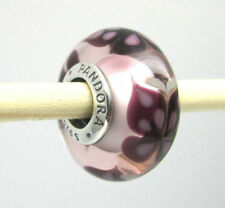 Authentic Pandora 791621 Pink Butterfly Kisses Murano Glass Charm