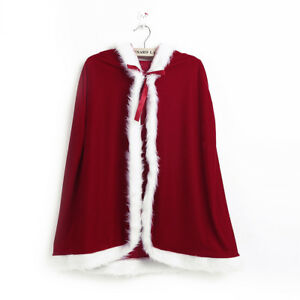 Girls Kids Christmas Cape Miss Santa Costume Xmas Party Child Hooded Robe Cloaks
