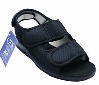 LADIES BLACK SOUTHMEAD GBS MEDICAL ORTHO ADJUSTABLE TOUCH STRAP COMFORT SHOES