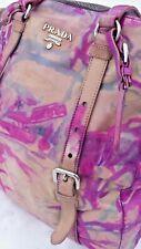 Prada Leather purse Napa Shoulder Bag Tote Pink Blush Tan beige purple fuscia