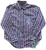 Dockers Women's Striped Multicolor Long Sleeve Button Up Shirt Large