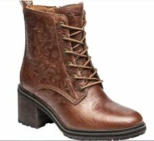 Timberland Sienna High Side Zip Embossed Leather Boots (Size 7.5) Rust