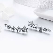 Stunning S925 Sterling Silver Climber Star Earrings With Cubic Zirconia Stones