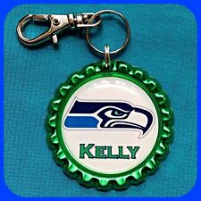 Personalized SEATTLE SEAHAWKS Bottle Cap Jewelry Mens Key Chain Ring Zipper Pull