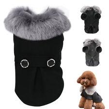 Winter Warm Dog Coats Woolen Fur Collar Pet Puppy Cat Clothes Jackets Chihuahua