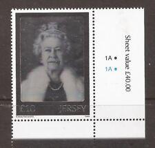 Jersey 2012 Diamond Jubilee £10 Hologram  MNH