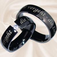schwarze Eheringe Hochzeitsringe Partnerringe Verlobungsringe 6 mm mit Gravur