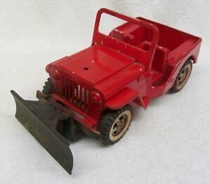 """Vintage TONKA JEEP CAA C5 Truck with Snow Plow Blade Pressed Steel 11"""" Long"""