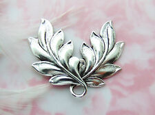 ANTIQUE SILVER Art Nouveau Spray Double Leaves Stamping ~ Leaf Finding (FA-6087)