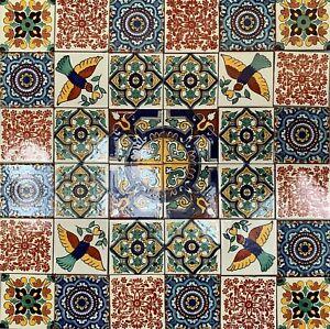 36 x Mixed 10.5cm Mexican Talavera Style Tiles (Seconds)