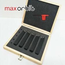 "5pc 10mm 3/8"" Indexable Tip Carbide Lathe Tool Set Metal Milling Turning Cnc"