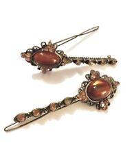 Antique Gemstone Hair Pin Barrette, Acrylic Oval Cabochons REVLON