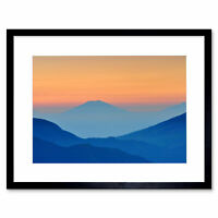Photo Landscape Mountains Sunset Framed Art Print Poster 12x16 Inch