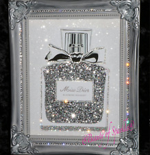 """Miss"" Glitter / Diamond dust Canvas Picture Silver Shabby Chic frame, Wall Art."