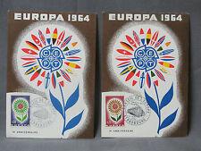 2 CARTES POSTALES PREMIER JOUR - TIMBRE -CONSEIL DE L'EUROPE 12 SEPTEMBRE 1964
