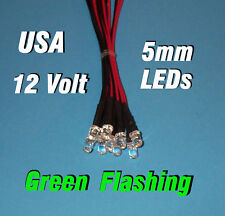 10 FLASHING LEDS 5mm PRE WIRED 12 VOLT GREEN 12V BLINK