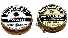 2x Gold Nugget Shoe Polish Tin Tins 1940s