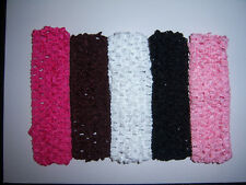 wholesale lot 5 crochet headbands BABY or GIRLS for korkers hair bow or daisy
