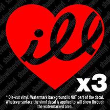 (x3) ill Heart Vinyl Decal Sticker illest Fatlace JDM Euro Drift Fresh Dope VW