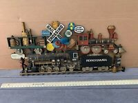 TRAIN railroad locomotive SIGN collectible vintage wall hanging Burwood Prod.