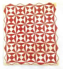 Vintage Artisan Needlepoint Quilt Patterned Rug Dollhouse Miniature 1:12 Red