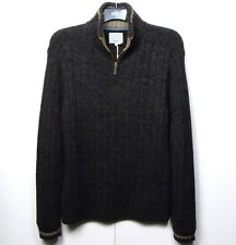 M&S Chunky Knit ZIP Neck JUMPER with WOOL & COTTON ~ Size M ~ BROWN