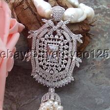"H101007 21"" White Keshi Pearl Necklace CZ Pendant"