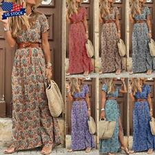 Womens Summer V-neck Long Maxi Dress Ladies Casual Holiday Floral Beach Sundress