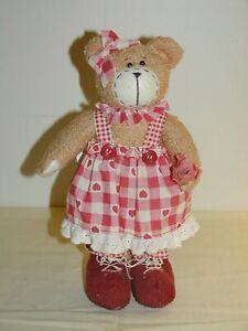 Vintage Teddy Bear Plush Weighted Door Stop by Dandee International 10½in c1990s