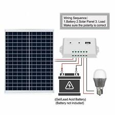 ECO 20W 12V  Poly Solar Panel Kit W/3A Controller & Battery Clips Charge Camping
